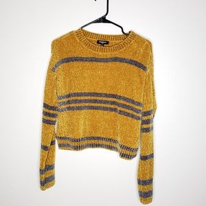 'Freshman' Long Sleeve Mustard & Gray Sweater